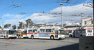 San Francisco Municipal Railway fleet - Potrero Garage scene showing a range of Muni trolley buses spanning from 1976 to 2003. On the left is an ETI (Skoda/AAI) 14TrSF trolleybus, which type replaced the non-accessible Flyer trolleybuses in the center. On the right is an articulated New Flyer trolleybus, one of 60 articulated ETBs built by New Flyer for Muni in 1993-94.