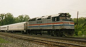 (Amtrak 345, an EMD F40PH pulls a passenger tr...
