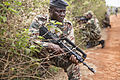 A Cameroon soldier provides security during a patrol as part of a culmination exercise of infantry squad tactics March 18, 2014, during Central Accord 14 in Koutaba, Cameroon 140318-A-IS772-025.jpg