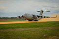 A U.S. Air Force C-17 Globemaster III aircraft takes off from the Geronimo landing zone during Joint Readiness Training Center (JRTC) 14-05 training at Fort Polk, La., March 14, 2014 140314-F-XL333-269.jpg