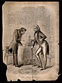A hunchbacked physician talking to a patient who has a defor Wellcome V0016077.jpg