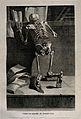 A kneeling skeleton, seen from behind, reading a book on a Wellcome V0008800.jpg