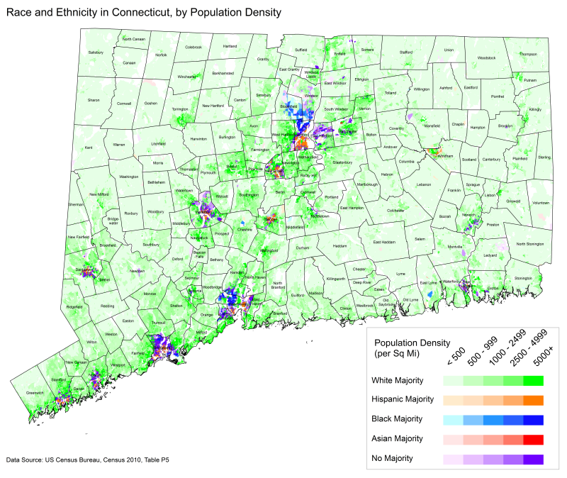 A map showing the majority racial or ethnic group in Connecticut by census block.png