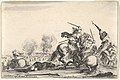 A skirmish, two horsemen battling with swords to the right, men carrying a flag running away towards the right, a dead man on the ground and a horseman seen from behind to the left, from 'Varie figure' MET DP833217.jpg