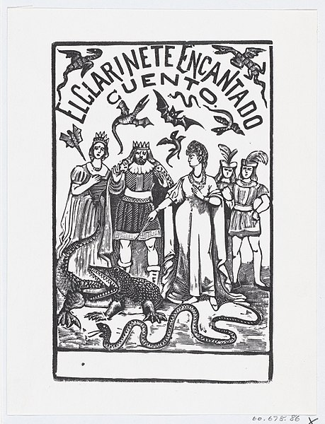 File:A sorceress pointing her wand at a crocodile while royal figures watch, illustration for 'El Clarinete Encantado' MET DP869494.jpg