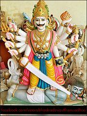 A statue of Veerabhadra at ' ' ' Veerabhadra devasthan-vadhav' ' ',Tal-pen,Dis-raigad,Maharashtra