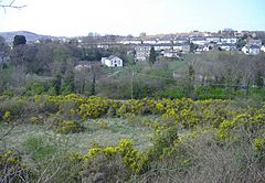 Landscape of Abersychan showing housing and chapel with mountain in the background