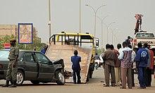 Accident de voitures sur l'avenue Charles de Gaulle à Ouagadougou.jpg