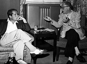 Goodman Ace - Ace and Perry Como confer before the start of The Perry Como Show on 17 September 1955.