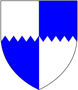 Manor of Iron Acton - Arms of de Acton: Quarterly per fess indented argent and azure