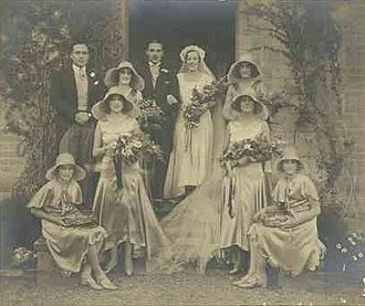 John Lavington Bonython - Ada Bray Bonython (1908-1965) on her wedding day c. 1930. Back row: brother John Bonython, Beryl Ritchie, Denis Heath (groom), Ada (bride), and Joan Smeaton. Front row: sisters Katherine and Elizabeth (Betty) Bonython, Molly Fotheringham and Nancy Rowena Bray.