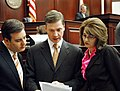 Adam Hasner, Dean Cannon, and Marti Coley confer on the House floor.jpg