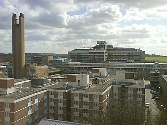 Hills Road, Cambridge - General view of Addenbrooke's Hospital at the southeastern end of Hills Road.