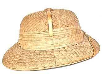 """Sholapith - An """"Aden"""" or """"Cawnpore"""" style of pith helmet. They were manufactured in India until about 1938."""
