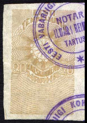 Fiscal cancel - Image: Adhesive label Estonia 1919 20m