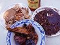 Adobong bibe, dinuguan, lechon (Philippines).jpg