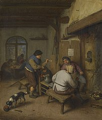 Three Peasants in a Tavern, round a Fire
