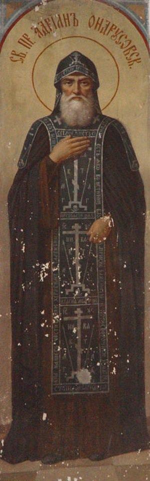 Koukoulion - Icon of St. Adrian of Ondrusov, wearing the black koukoulion. The lapets can be seen on his shoulders.