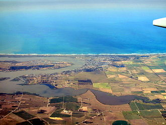 Goolwa South, South Australia - Goolwa South located on the oceanic coastline between the left-hand side of and the middle of the image.