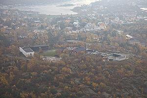 Älvsborg, Gothenburg - Aerial view across the central parts (Käringsberget) of Älvsborg.