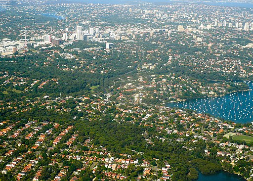 Aerial view of Longueville, Riverview, St Leonards, Sydney 2009-03-06