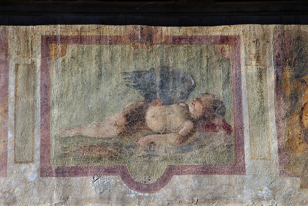Affreschi della facciata di palazzo dell'antella, 1619, registro inferiore 05 amorino dormiente di giovanni da san Giovanni (da caravaggio)