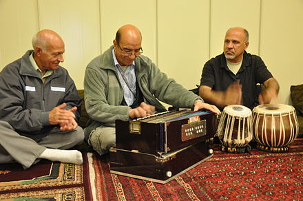 Afghan men performing at the new Afghan Cultural Center on Camp Leatherneck in Helmand Province. Afghan musicians.jpg