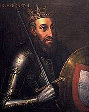 Afonso I of Portugal. Note the anachronistic platemail.