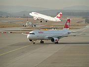 Swiss International Air Lines's A320 family of jets taking off at Zürich International Airport.
