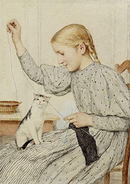 Albert Anker Sitzendes Mädchen mit einer Katze 1903