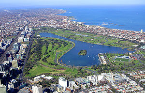 English: Aerial shot of Albert Park, Victoria,...