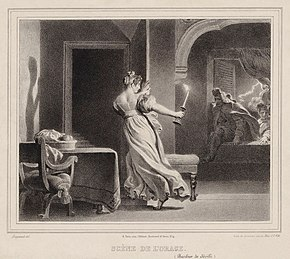 The storm scene from Il barbiere in an 1830 lithograph by Alexandre Fragonard (Source: Wikimedia)
