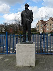 A bronze statue of former Ipswich and England manager, Sir Alf Ramsey, with one hand in his pocket