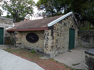 Allegheny Arsenal - Allegheny Arsenal Powder Magazine, built 1814, perhaps the only original portion of the former arsenal still intact.