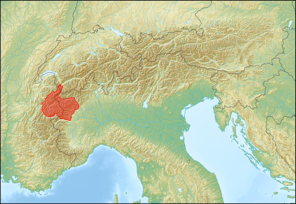 Alps location map (Alpi Graie, SOIUSA)