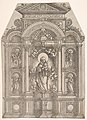 Altarpiece with the Beautiful Virgin of Regensburg and Saints Christopher, Mary Magdalen, Florian and Catherine Standing in Niches, with God the Father Above MET DP833056.jpg