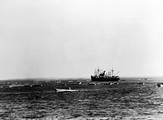 Operation Torch - American ships preparing to land off Safi during Operation Blackstone