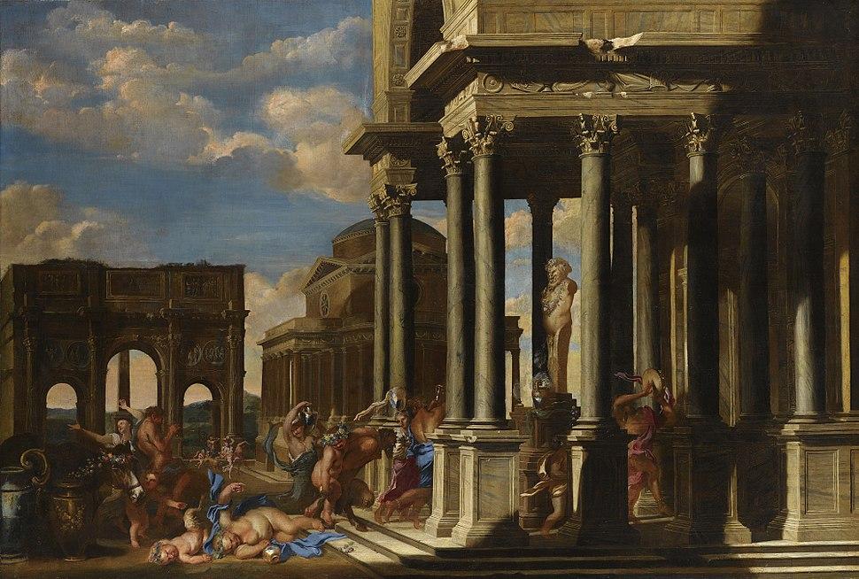An Architectural Capriccio with a Bacchanalian Procession by Filippo Gagliardi and Giovanni Benedetto Castiglione