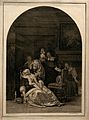 An ill woman collapsing, a maid rushes to her aid whilst her Wellcome V0016055.jpg