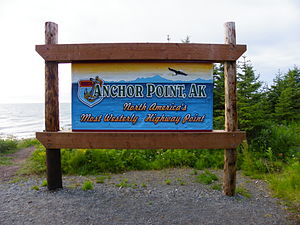 Anchor Point, Alaska - Sign designating North America's most westerly highway point.