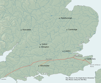 Harrow Way - The Old Way marked in red with the Pilgrims Way marked in orange, key locations in the Anglo-Saxon Chronicle are labelled black