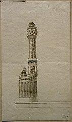 Ébauche d'un poteau d'escalier style Louis XVI