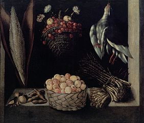 Fruit Dish with a Basket of Cherries and a Basket of Apricots