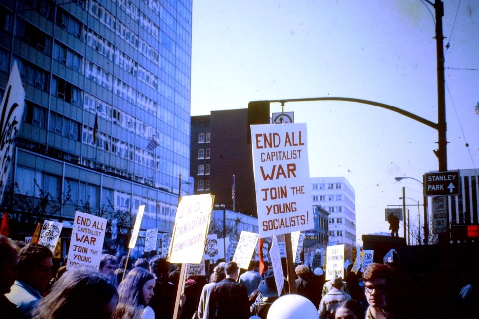 Anti Vietnam war demonstration. Vancouver, BC. 1968