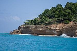 View of the rocky shoreline in Antigua