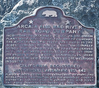 Blue Lake, California - The Arcata and Mad River Railroad is California Registered Historical Landmark Number 842, located in downtown Blue Lake.