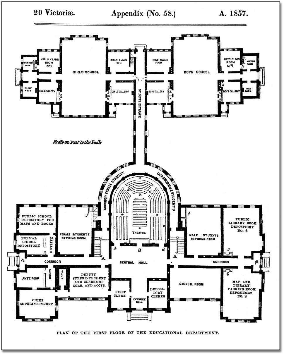 Architectural measured drawings showing the floor plans of the Toronto Normal and Model Schools, 1857