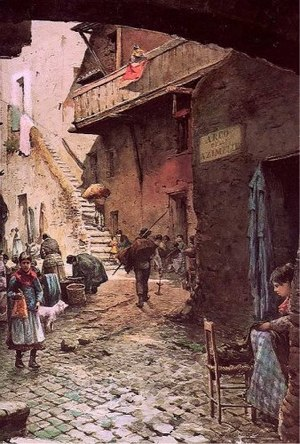 Jewish ghettos in Europe - An 1880 watercolor of the Roman Ghetto by Ettore Roesler Franz.