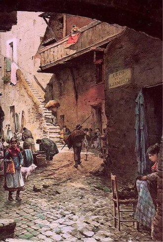 Jewish quarter (diaspora) - An 1880 watercolour of the Roman Ghetto by Ettore Roesler Franz.