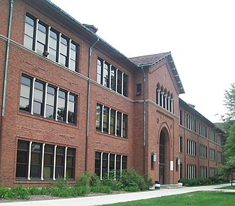 Arsenal Technical High School - Part of the front facade of Treadwell Hall